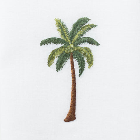 Palm Tree Modern<br>Hand Towel - White Cotton
