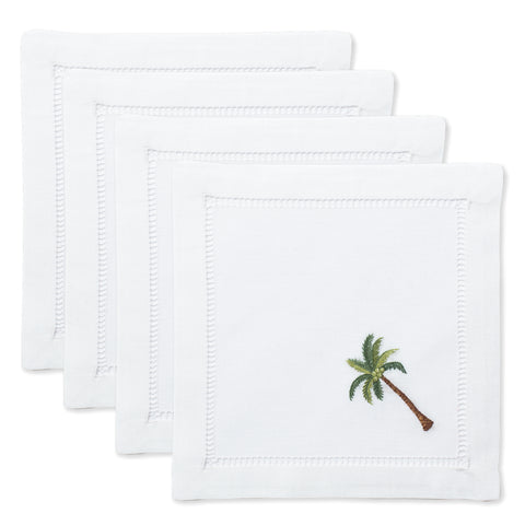 Palm Tree Modern<br>Cocktail Set - White Cotton