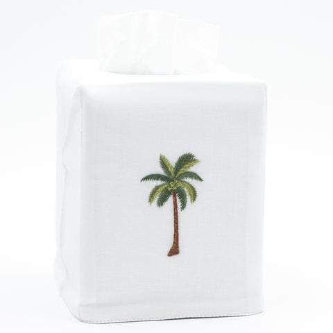 Palm Tree Modern<br>Tissue Box Cover - White Cotton