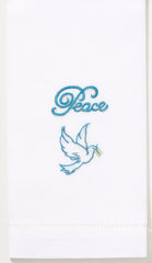 Peace Dove<br>Hand Towel - White Cotton