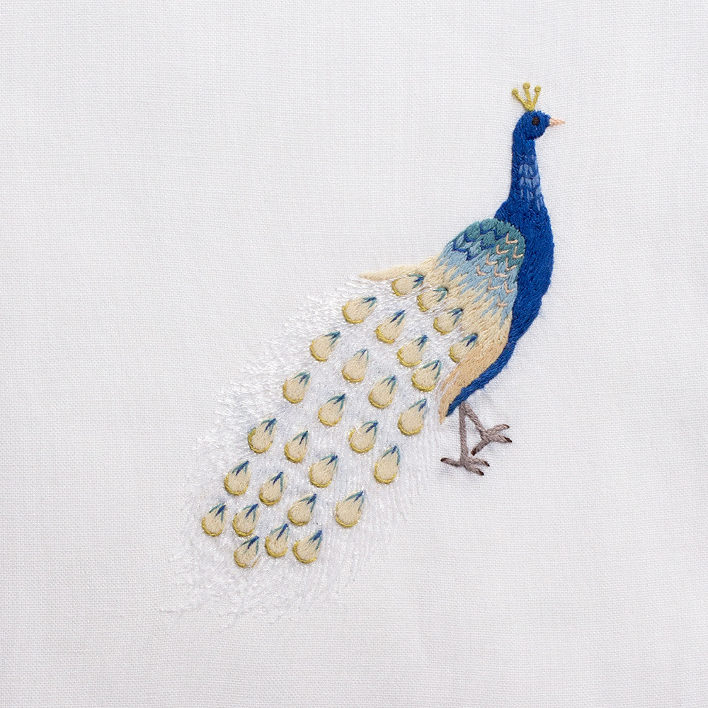 Peacock Blue<br>Hand Towel - White Cotton