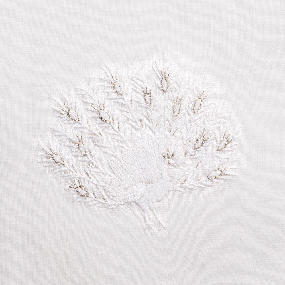 Peacock White<br>Hand Towel - White Cotton