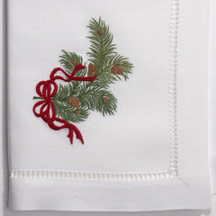 Pine Bough Ribbon<br>Napkin - White Cotton