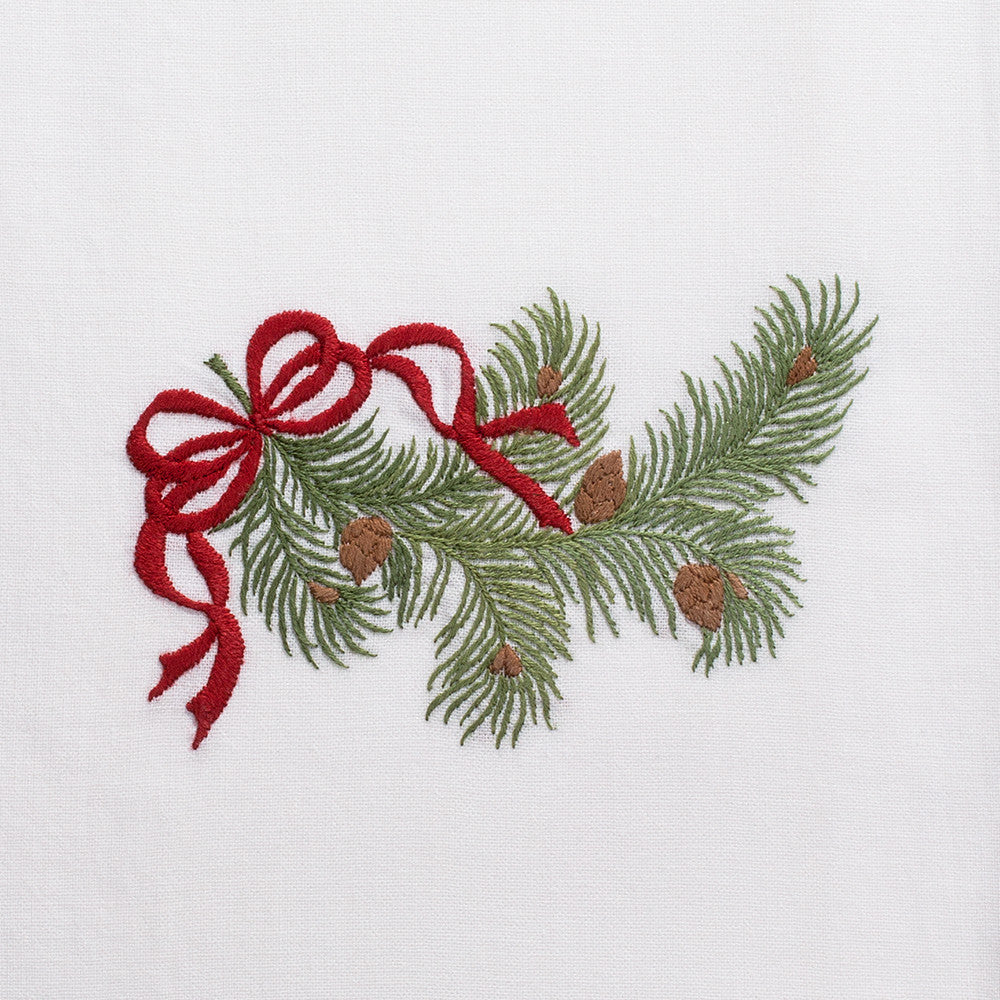 Pine Bough Ribbon<br>Hand Towel - White Cotton