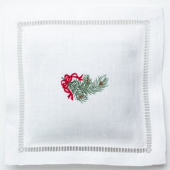 Pine Bough Ribbon<br>Sachet - White Linen