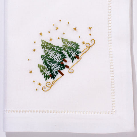 Pine Trees<br>Napkin - White Cotton