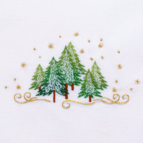Pine Trees<br>Hand Towel - White Cotton