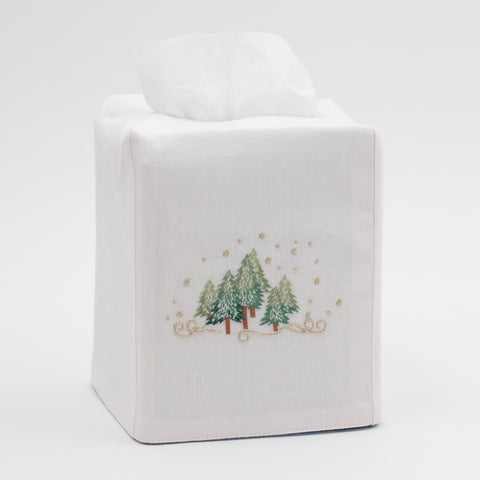 Pine Trees<br>Tissue Box Cover - White Cotton