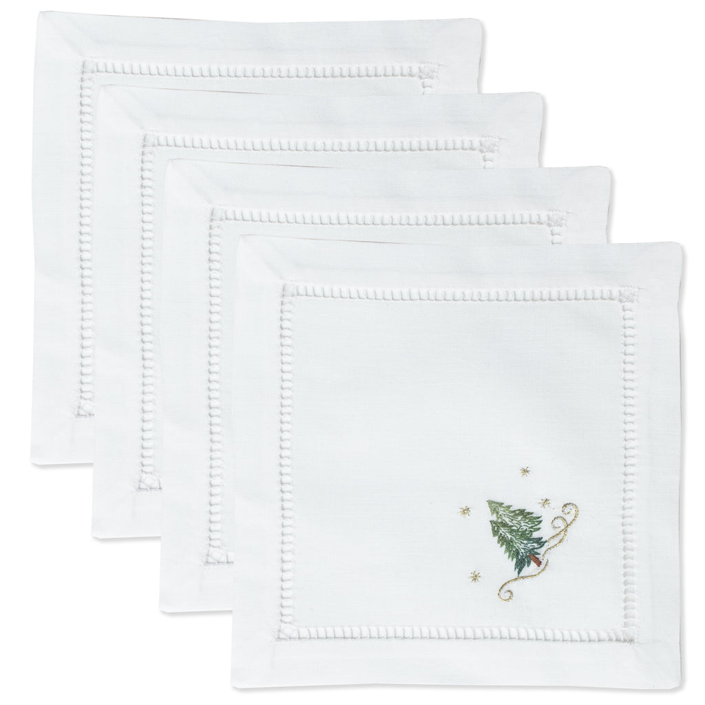Pine Trees<br>Cocktail Set - White Cotton