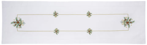 Pine Clusters Gilded<br>Table Runner - White Cotton