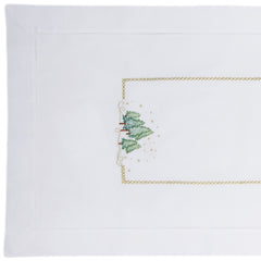Pine Trees<br>Table Runner - White Cotton