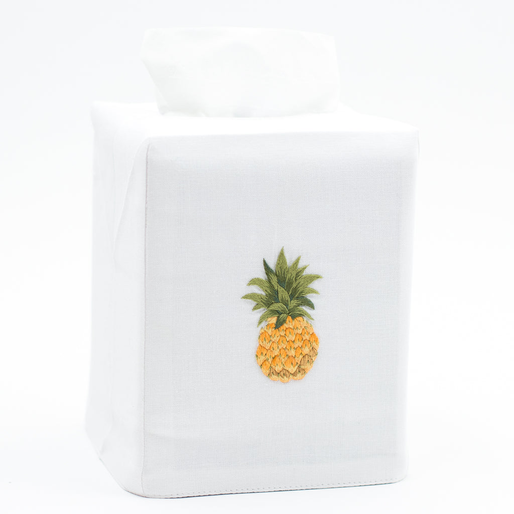 Pineapple Modern<br>Tissue Box Cover - White Cotton
