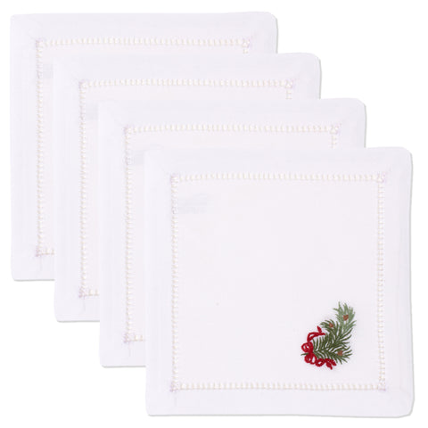 Pine Bough Ribbon<br>Cocktail Set - White Cotton