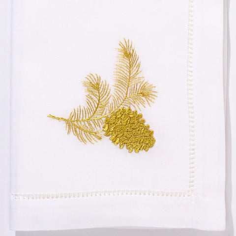 Pinecone Gold<br>Napkin - White Cotton