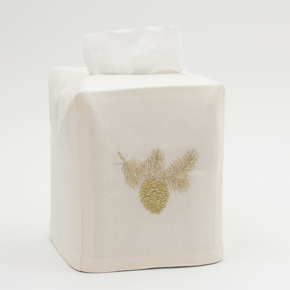 Pinecone Bough Glitter<br>Tissue Box Cover - Ivory Cotton<br>50+ In Stock