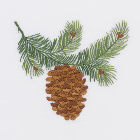 Pinecone Bough<br>Hand Towel - White Cotton