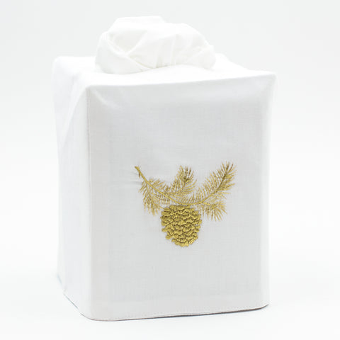 Pinecone Gold<br>Tissue Box Cover - White Cotton