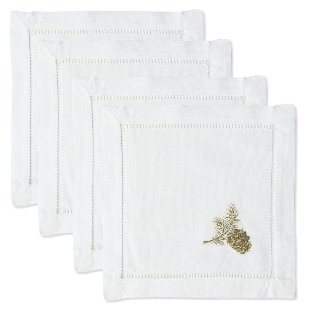 Pinecone Gold<br>Cocktail Set - White Cotton