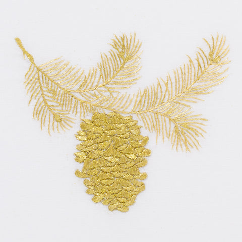Pinecone Gold<br>Hand Towel - White Cotton