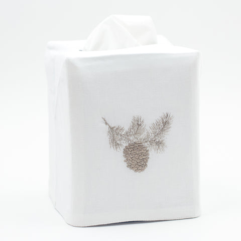 Pinecone Silver<br>Tissue Box Cover - White Cotton