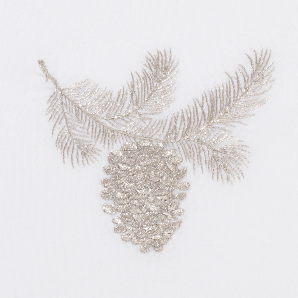 Pinecone Silver<br>Hand Towel - White Cotton