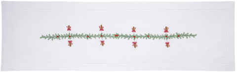 Pinecones & Boughs<br>Table Runner - White Cotton