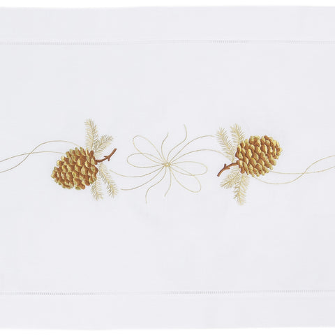 Pinecone Gilded<br>Table Runner - White Cotton