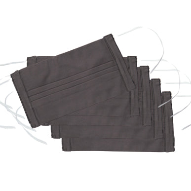 Italian Cotton Face Masks<br>Set of 5<br>Charcoal