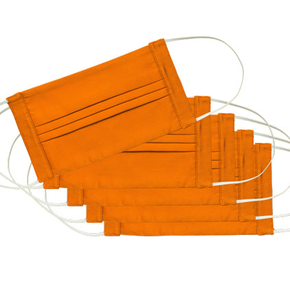 Italian Cotton Face Masks<br>Set of 5<br>Orange