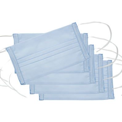 Italian Cotton Face Masks<br>Set of 5<br>Sky Blue