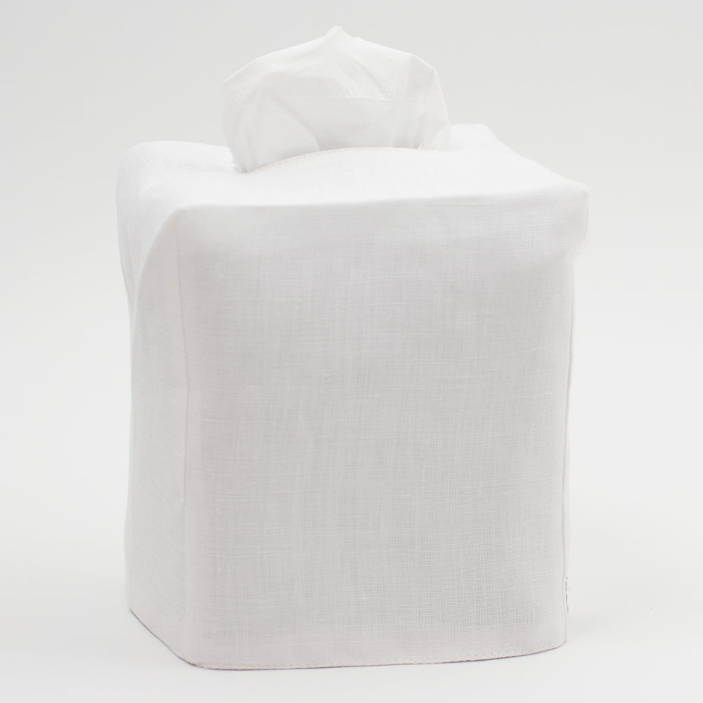 Tissue Box Cover<br>Without Embroidery<br>White Italian Linen