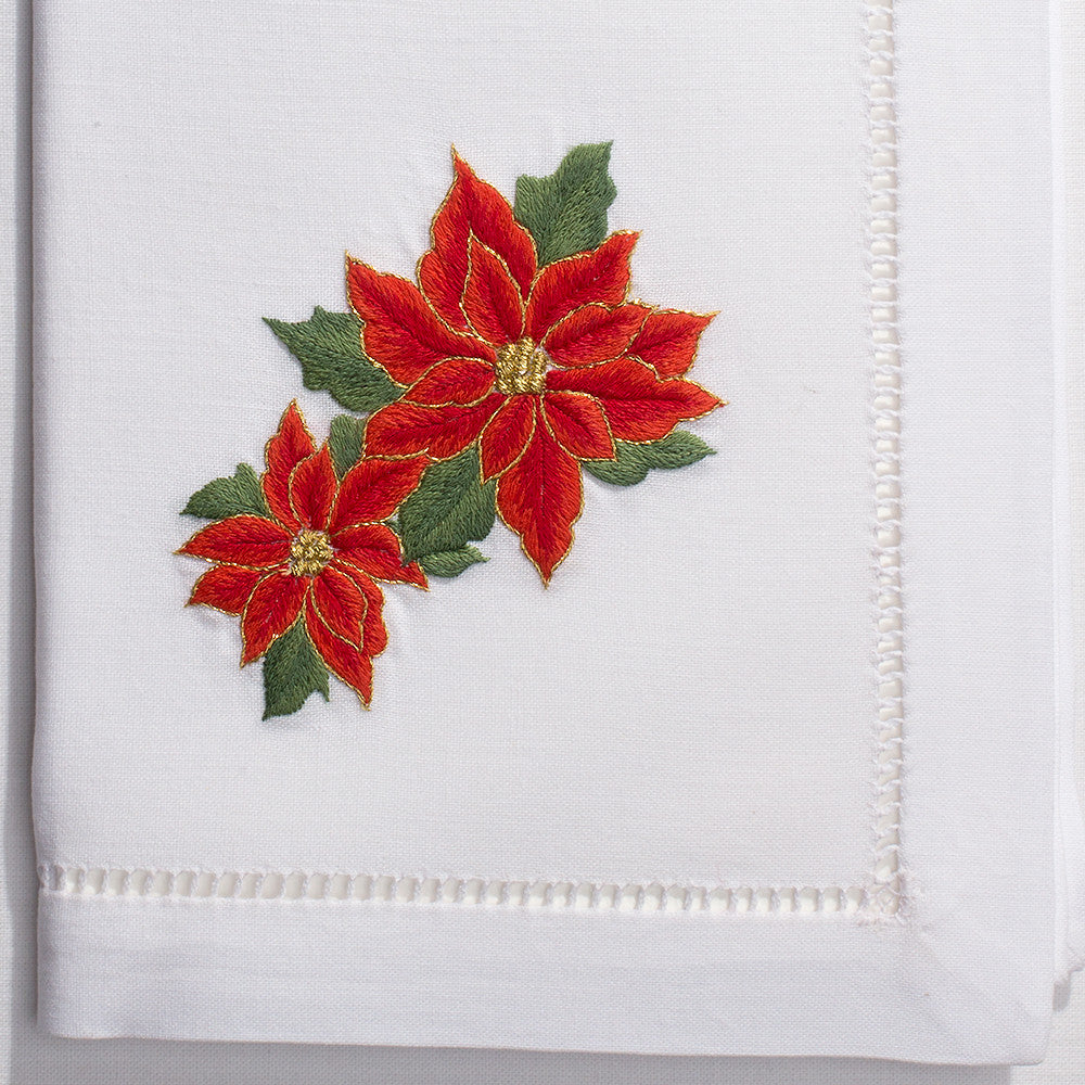 Poinsettias<br>Napkin - White Cotton