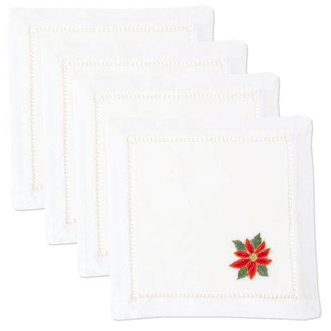 Poinsettias<br>Cocktail Set - White Cotton