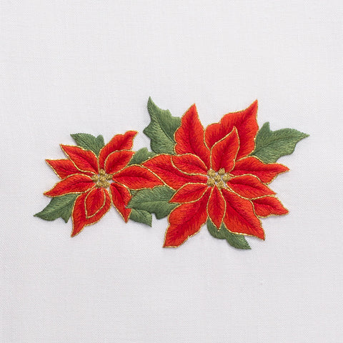 Poinsettias<br>Hand Towel - White Cotton