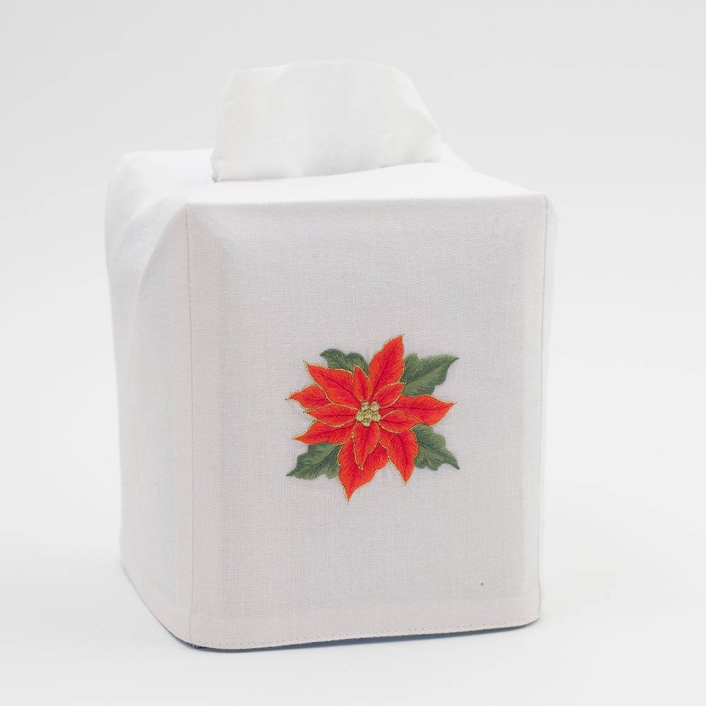 Poinsettias<br>Tissue Box Cover - White Cotton