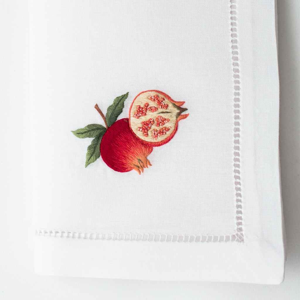 Pomegranates<br>Napkin - White Cotton