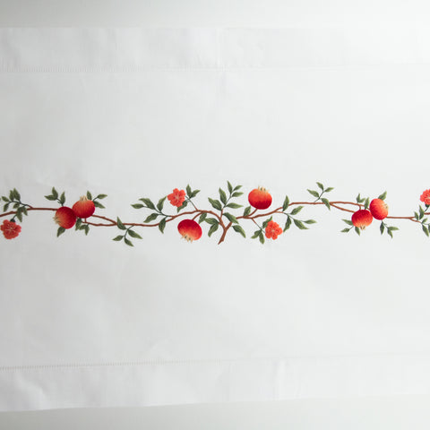 Pomegranates<br>Table Runner - White Cotton