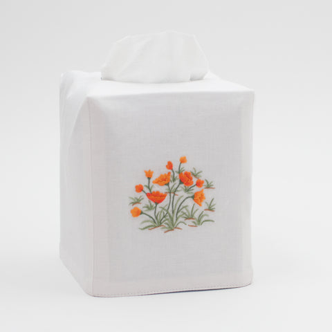 Poppies<br>Tissue Box Cover - White Cotton