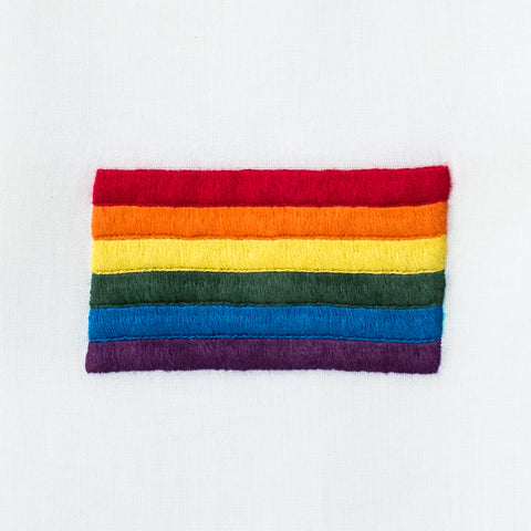 Pride Flag<br>Hand Towel - White Cotton