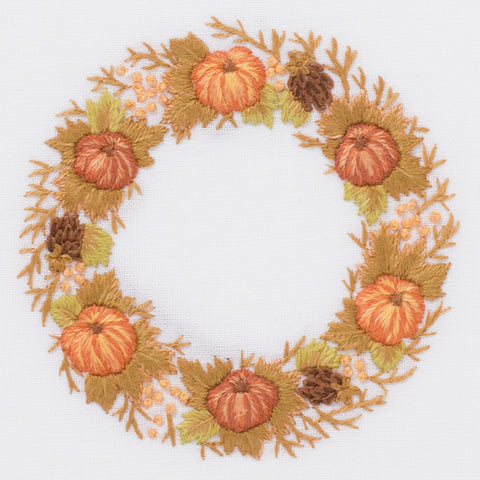 Pumpkin Wreath<br>Hand Towel - White Cotton