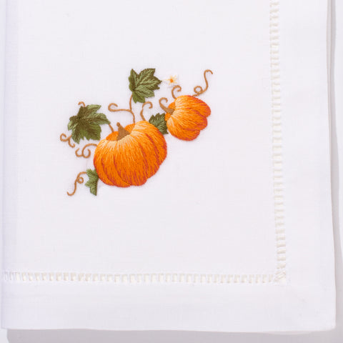 Pumpkins Grande<br>Napkin - White Cotton