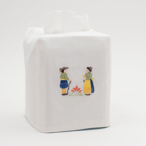 Quimper<br>Tissue Box Cover - White Cotton