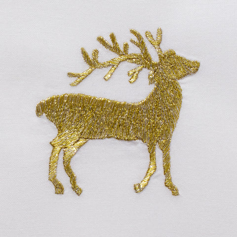 Reindeer Gold<br>Hand Towel - White Cotton