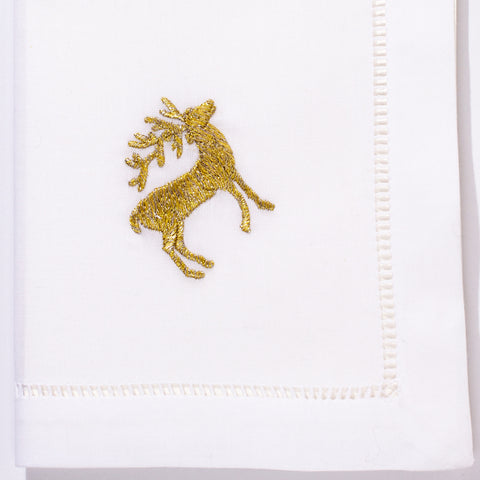 Reindeer Gold<br>Napkin - White Cotton