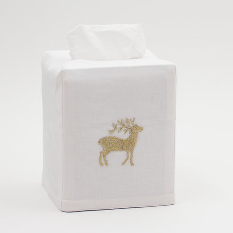 Reindeer Gold<br>Tissue Box Cover - White Cotton