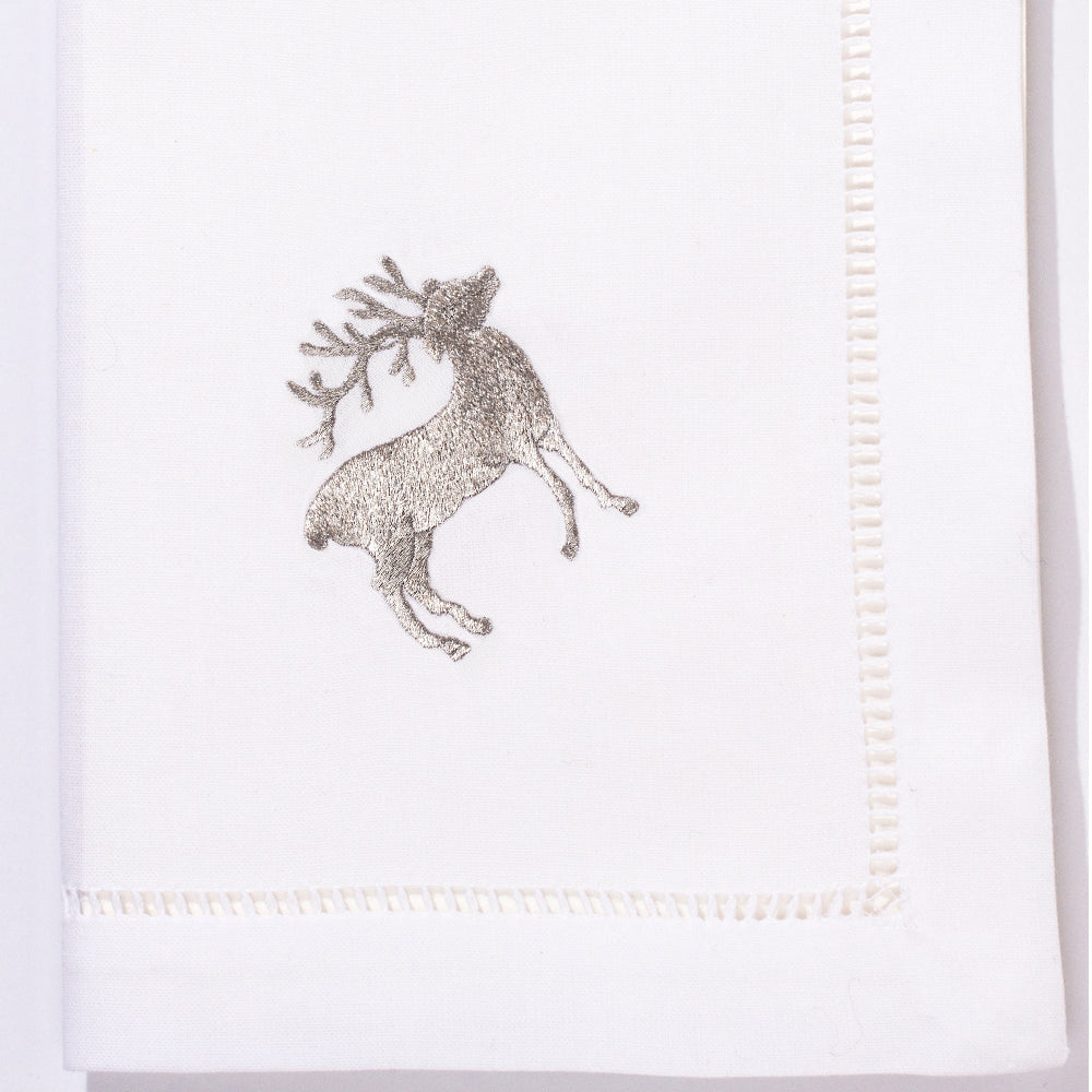 Reindeer Silver<br>Napkin - White Cotton