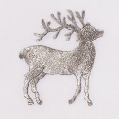 Reindeer Silver<br>Hand Towel - White Cotton