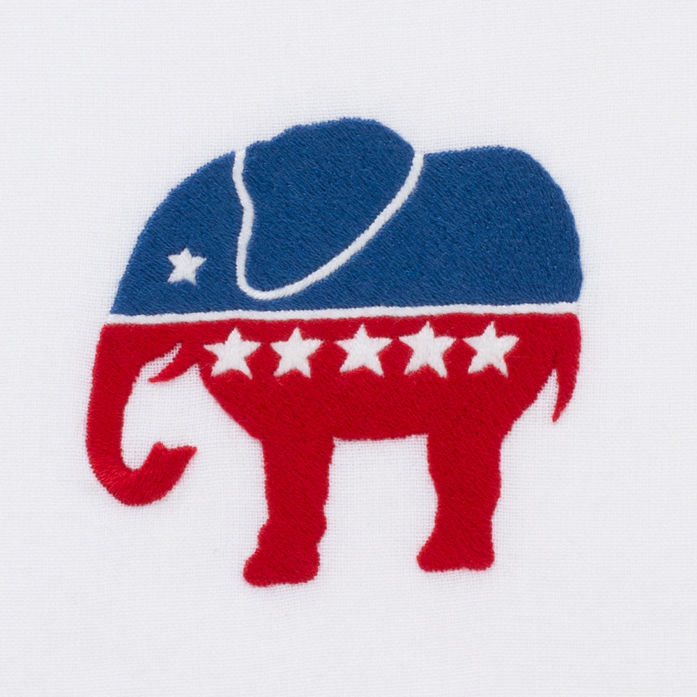 Republican Elephant<br>Hand Towel - White Cotton
