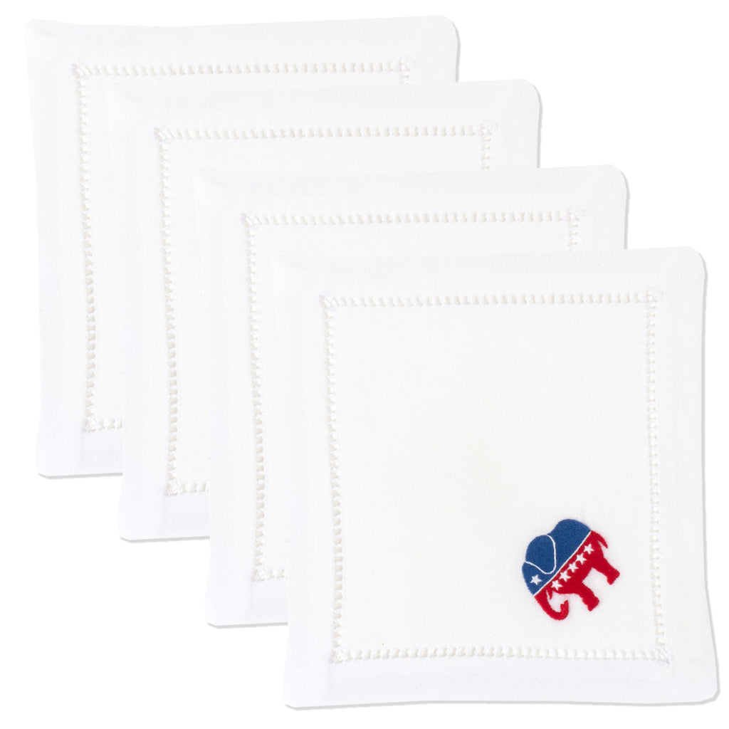 Republican Elephant<br>Cocktail Set - White Cotton
