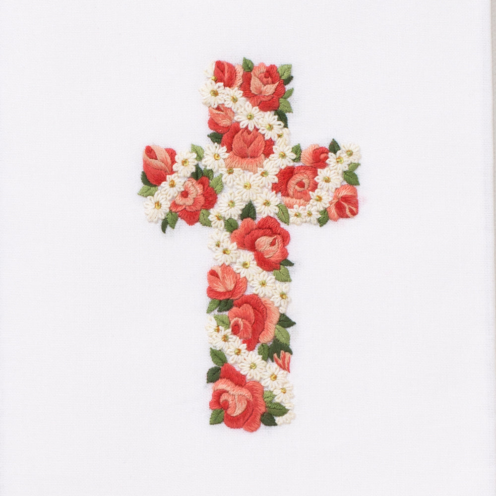 Rose & Daisy Cross<br>Hand Towel - White Cotton
